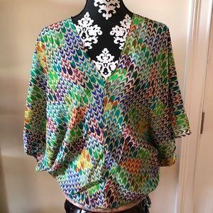 100% SILK DREW top blouse shirt multicolor Small